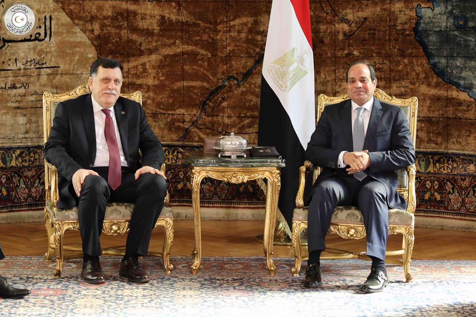 استقبل الرئيس المصري عبد الفتاح السيسي، رئيس المجلس الرئاسي لحكومة الوفاق الوطني فائز السراج