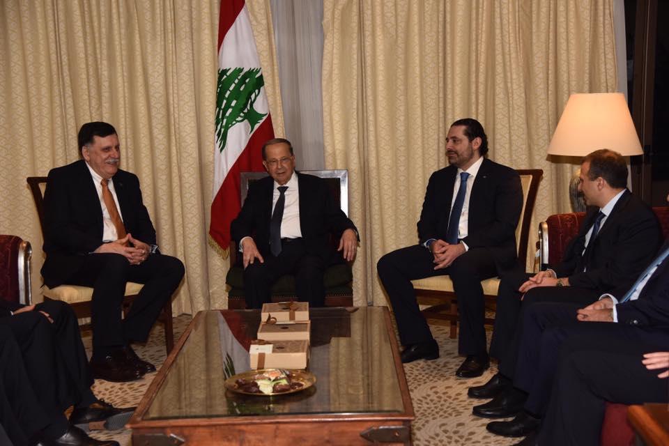 فايز السراج وميشال عون وسعد الحريري