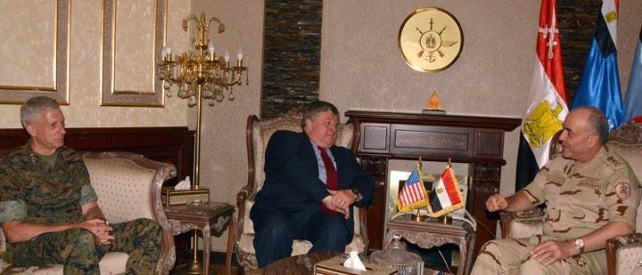 رئيس الأركان المصري الفريق محمود حجازي يستقبل قائد أفريكوم والسفير الأمريكي في ليبيا