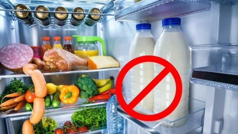 الحليب في باب الثلاجة