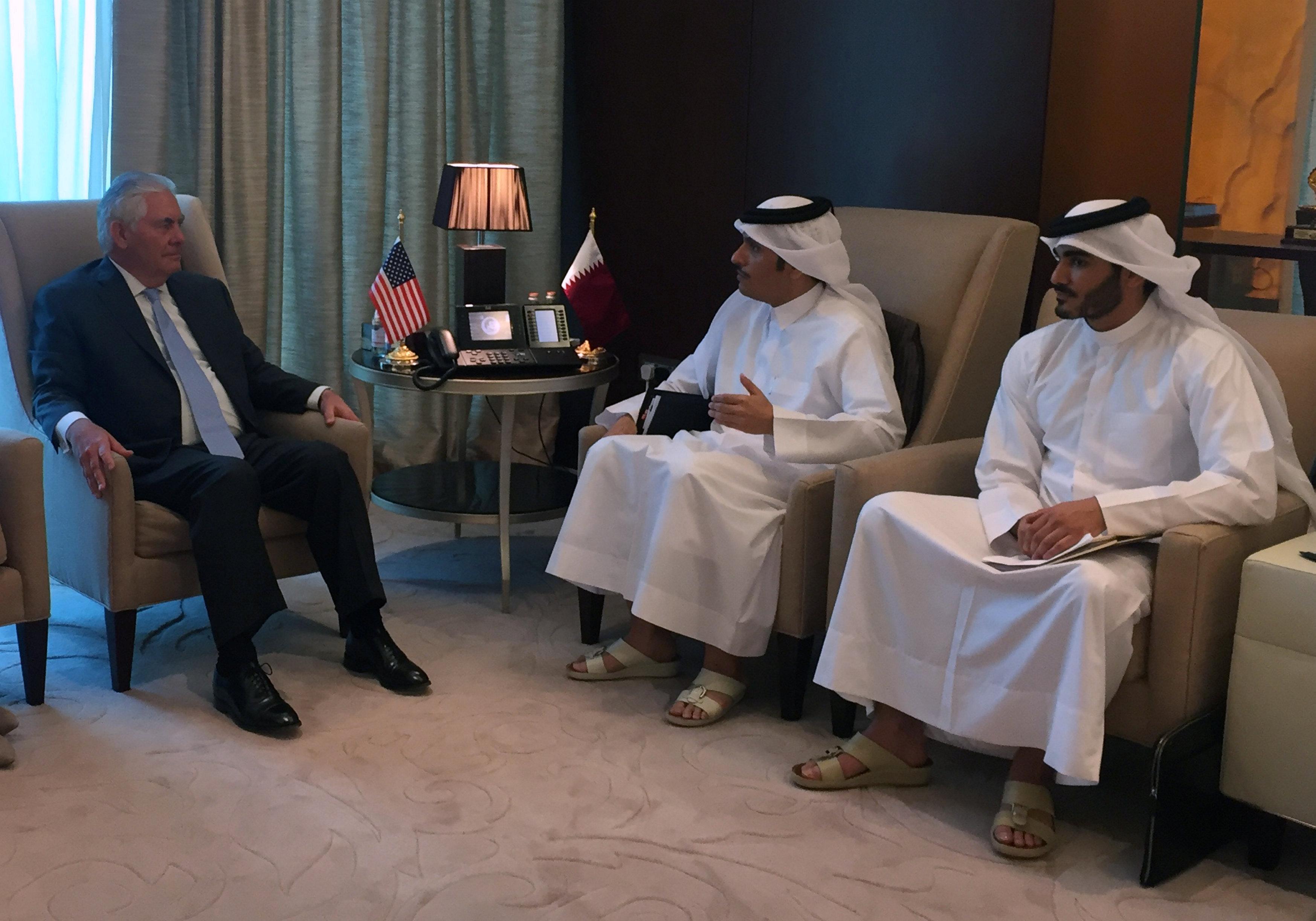 صورة تليرسون من الدوحة :شجعت الأمير تميم على اتخاذ خطوات لوقف دعم الإرهاب