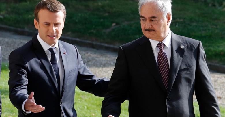 المشير خليفة حفتر ,الرئيس الفرنسي إيمانويل ماكرون