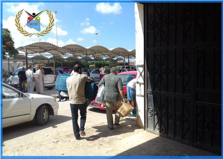 """صورة """"الليبية للإغاثة"""" تشرع في توزيع المساعدات على """" المحتاجين"""""""