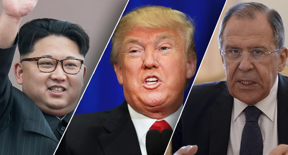 سيرجي لافروف و دونالد ترامب و كيم جونغ يون