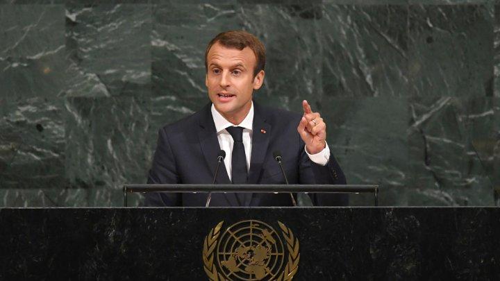 إيمانويل ماكرون خلال القاء خطابه على منبر الأمم المتحدة