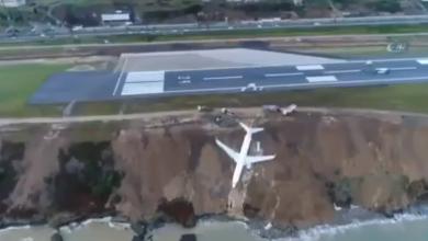طائرة كادت أن تسقط في البحر