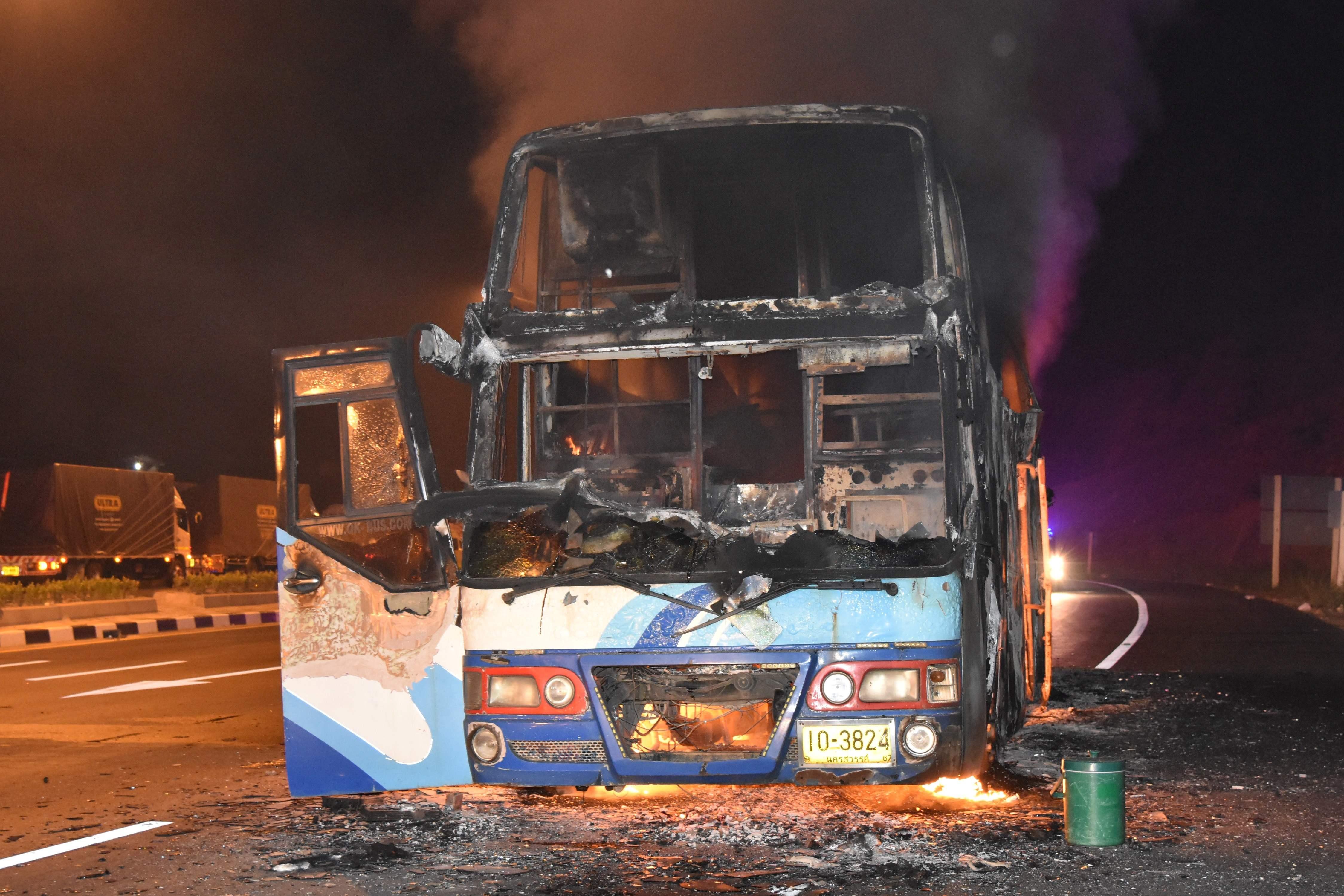 اشتعال النيران بحافلة مهاجرين في تايلاند