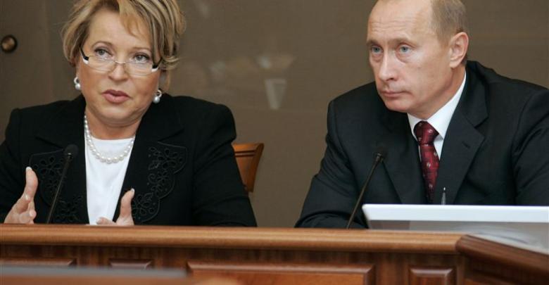 فلاديمير بوتن وفالنتينا ماتفيينكو رئيسة مجلس الاتحاد الروسي