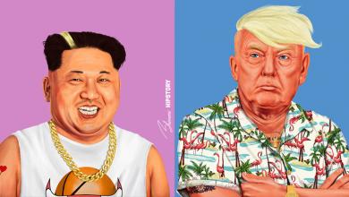 """صورة فنان يرسم قادة العالم بهيئة """"هيبي"""""""