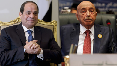 المستشار عقيلة صالح والرئيس المصري عبدالفتاح السيسي