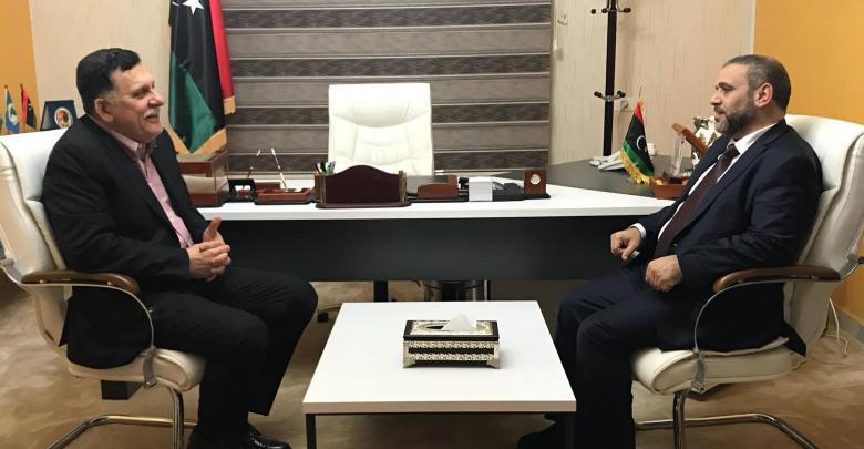 رئيس المجلس الرئاسي بحكومة الوفاق الوطني فائز السراج ورئيس المجلس الأعلى للدولة، خالد المشري