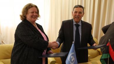 نائب الممبعوث الأممي إلى ليبيا، ماريا ريبيرو، ووزير التخطيط المفوض بحكومة الوفاق الطاهر الجهيمي