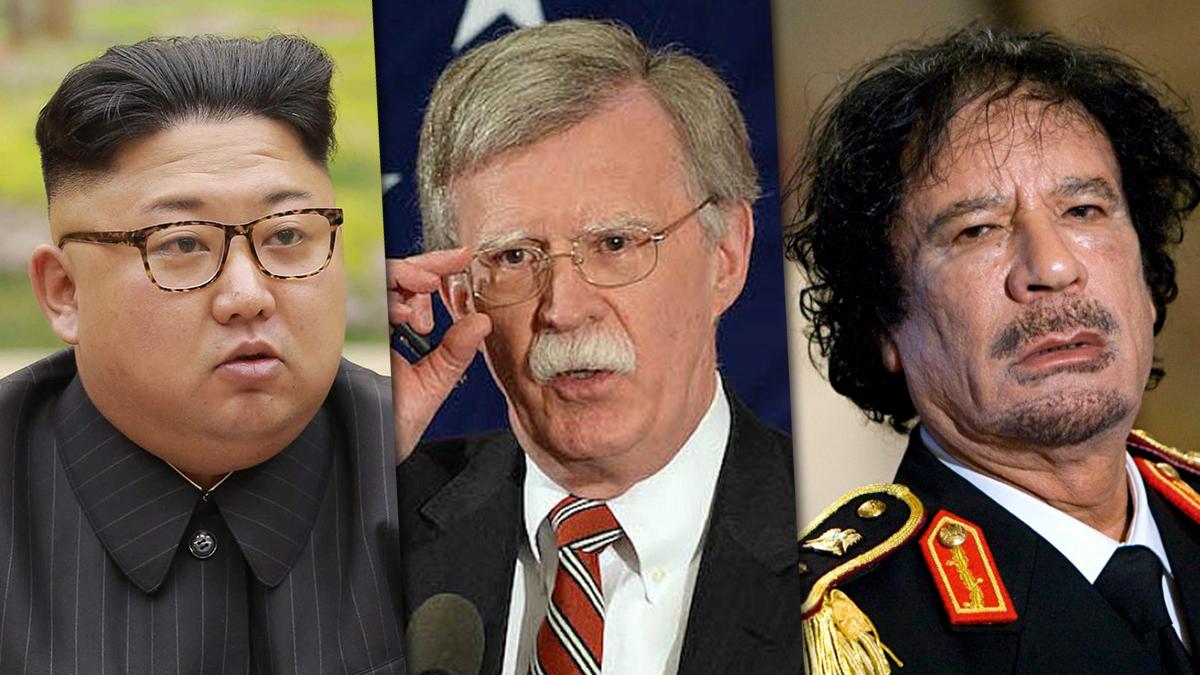معمر القذافي وجون بولتون وكيم جونغ أون