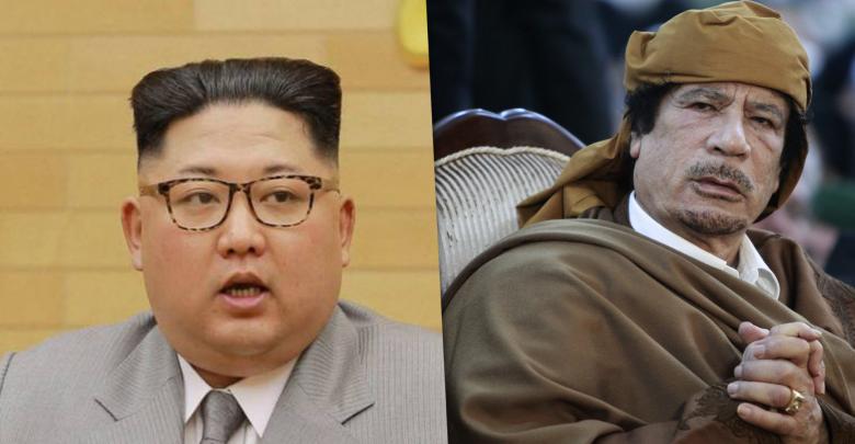 معمر القذافي ورئيس كوريا الشمالية كيم جونغ أون