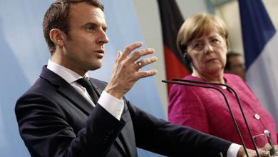 المستشارة الألمانية أنجيلا ميركل والرئيس الفرنسي إيمانويل ماكرون