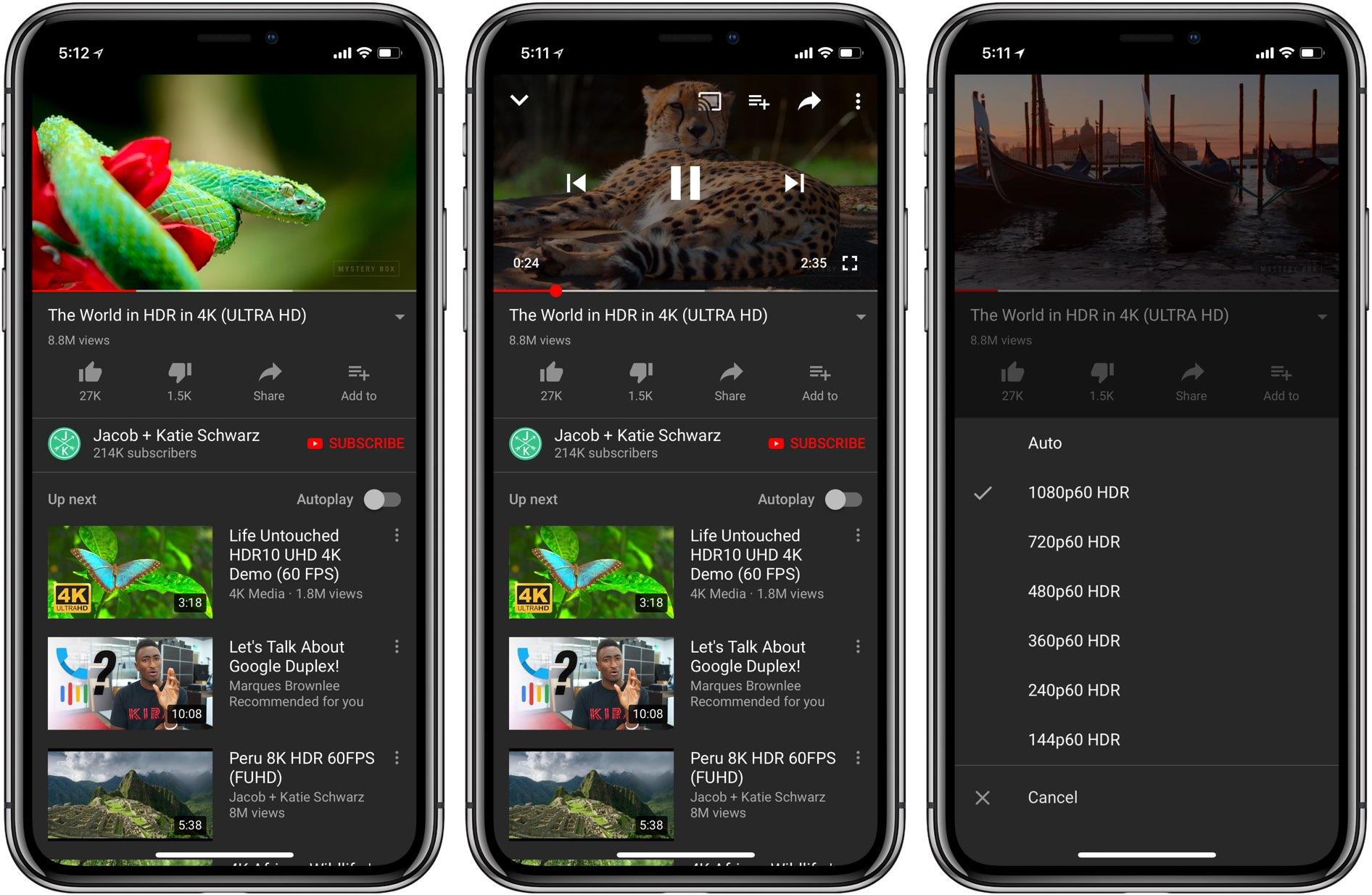 يوتيوب بدأت تدعم iPhone X تقنية HDR