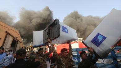 حريق موقع لتخزين صناديق الاقتراع في بغداد