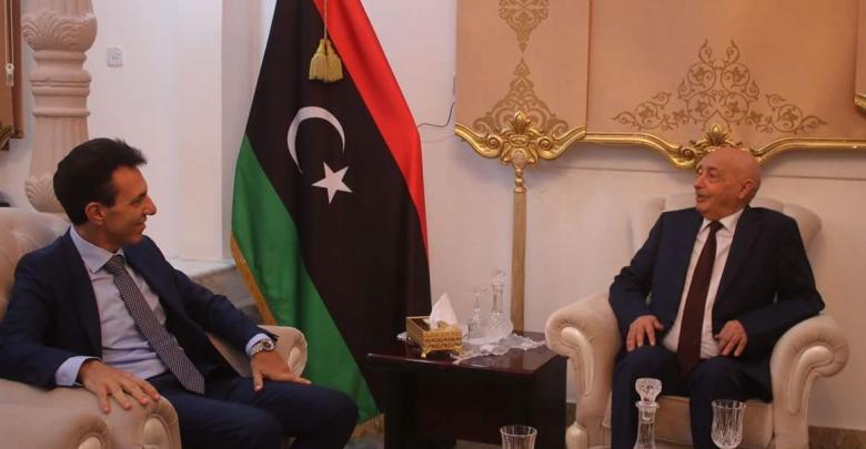 رئيس مجلس النواب عقيلة صالح و السفير الإيطالي لدى ليبيا جوزيبي بيروني