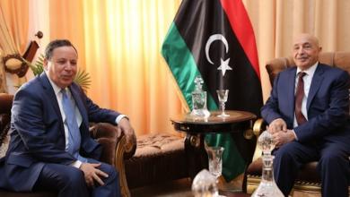 رئيس مجلس النواب عقيلة صالح و وزير الخارجية التونسي خميس الجهيناوي