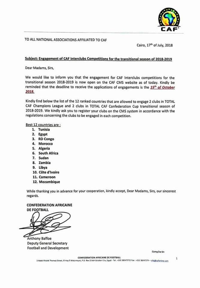 الكاف يعتمد مشاركة 4 فرق ليبية في البطولات الأفريقية