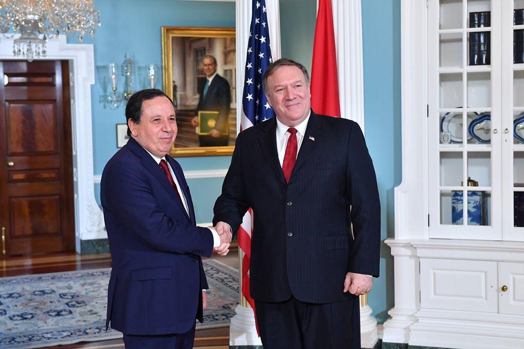 وزير الخارجية التونسي خميس الجهيناوي ووزير الخارجية الأمريكي مايك بومبيو