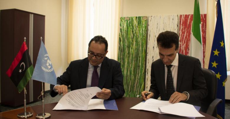 سفير إيطاليا لدى ليبيا السيد جوزيبي بيروني، ومدير مكتب برنامج الأمم المتحدة الإنمائي في ليبيا سلطان هاجييف