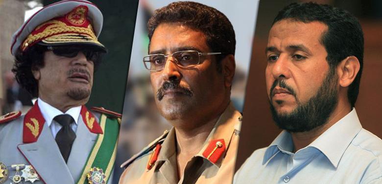 عبدالحكيم بلحاج وأحمد المسماري ومعمر القذافي