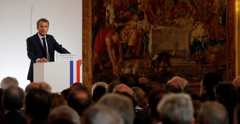الرئيس الفرنسي إيمانويل ماكرون - مؤتمر باريس للسفراء