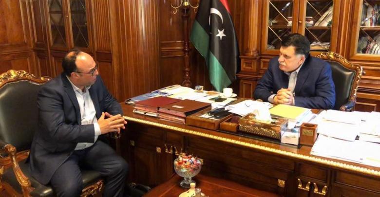 اجتماع فائز السراج ووزير الاقتصاد بحكومة الوفاق ناصر الدرسي