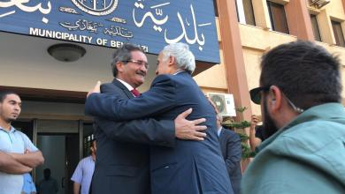 المبعوث الأممي إلى ليبيا غسان سلامة و رئيس بلدية بنغازي العميد عبد الرحمن العبار