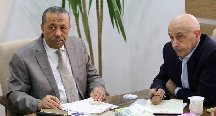 رئيس مجلس النواب عقيلة صالح ورئيس الحكومة المؤقتة عبدالله الثني