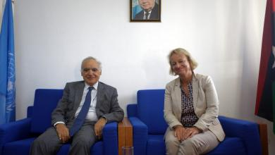 غسان سلامة مع سفيرة الاتحاد الأوروبي بيتينا موشايد