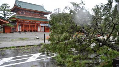 إعصار جيبي يضرب مدينة كيوتو في جنوب يابان