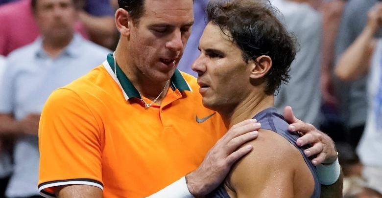 الإسباني رافائيل نادال و الأرجنتيني خوان مارتن ديل بوترو في بطولة أميركا المفتوحة لكرة التنس