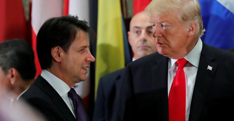 الرئيس الأميركي دونالد ترامب ورئيس الوزراء الإيطالي جوزيبي كونتي