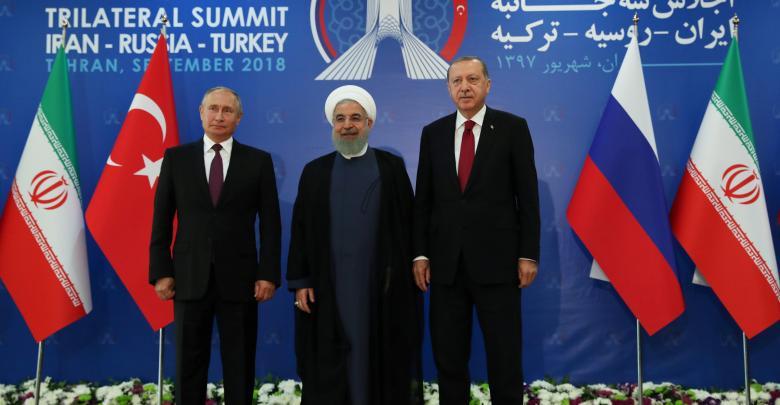 أردوغان وروحاني وبوتين في قمة طهران