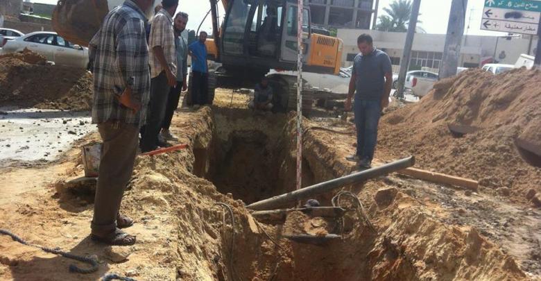 محلة باب بن غشير - صيانة شبكة تصريف المياه