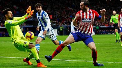 دييجو غودين - مدافع أتلتيكو مدريد يسجل الهدف الاول