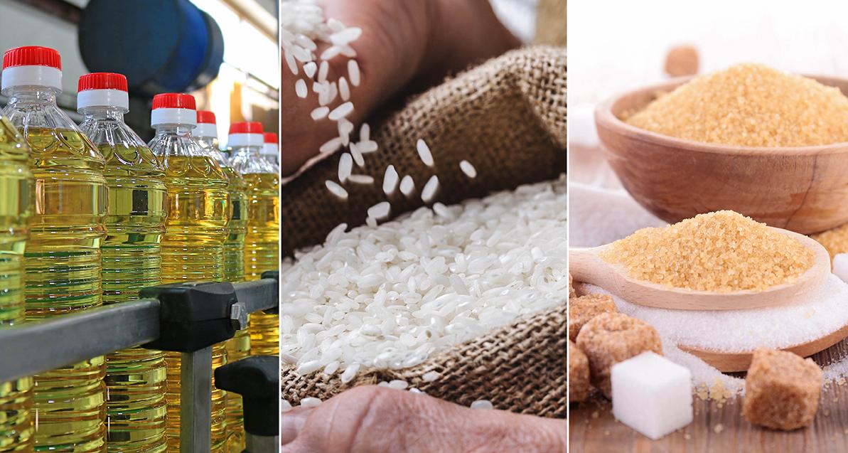 الزيت والسكر والأرز