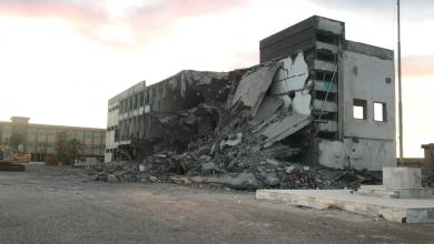 صورة هدم الكلية العسكرية للبنات بطرابلس (فيديو)