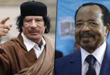 بول بيا ومعمر القذافي