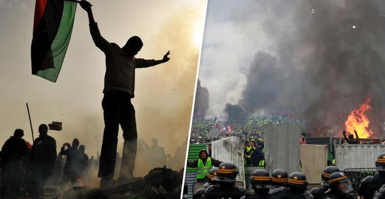 نتيجة بحث الصور عن مظاهرات فرنسا..مقاربة بين باب العزيزية و الإليزيه