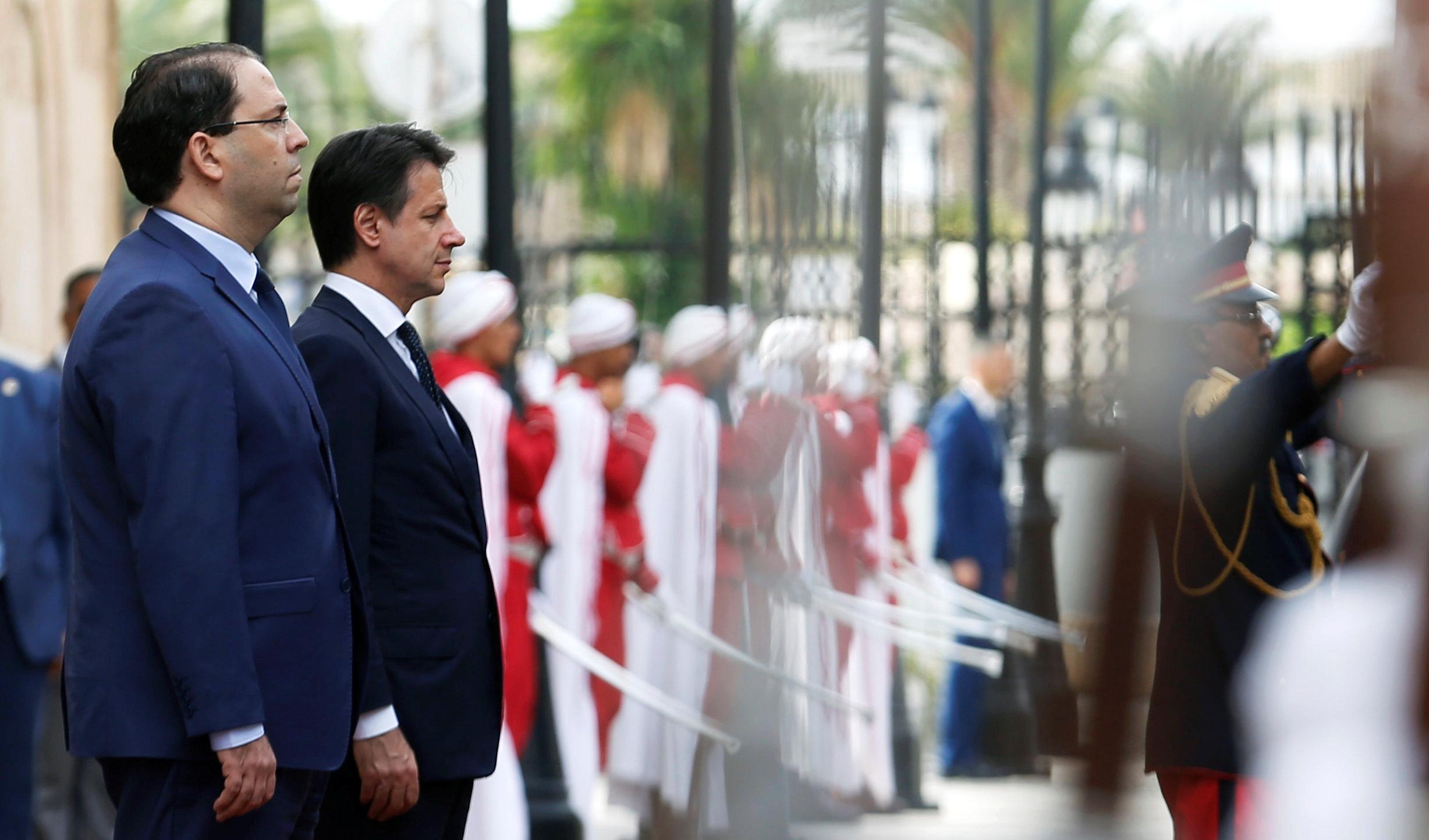 رئيس الوزراء الإيطالي جوزيبي كونتي ورئيس الوزراء التونسي يوسف الشاهد - تونس