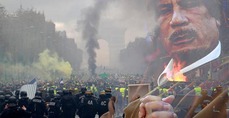 معمر القذافي - احتجاجات فرنسا