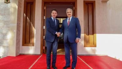 المشير خليفة حفتر ورئيس الوزراء الإيطالي جوزيبي كونتي