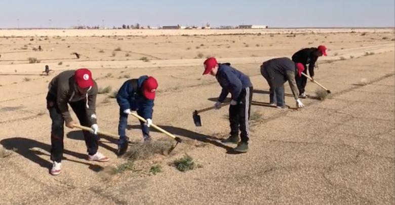 حملة تطوعية لتنظيف محيط مهبط مطار غدامس الدولي