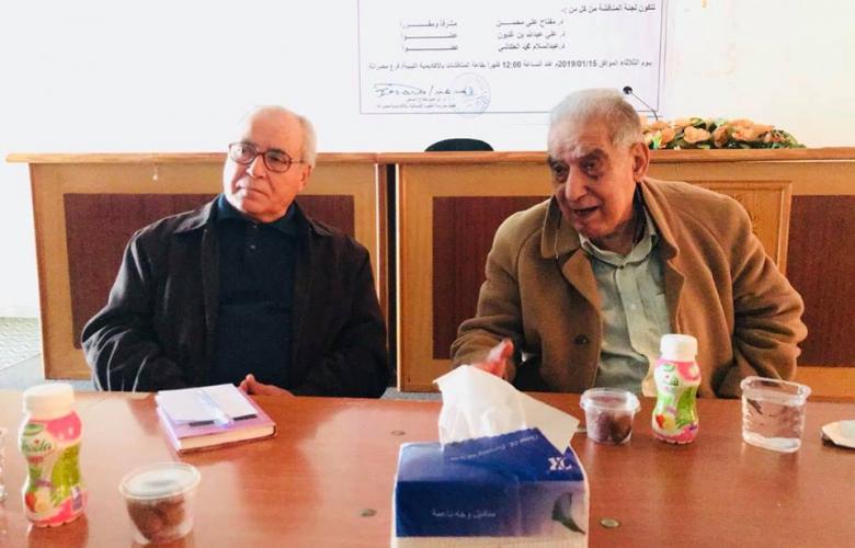 الشاعر عبدالرؤوف بن لامين متحدثاً عن تجربته وحياته في أمسية الأكاديمية الليبية - مصراتة