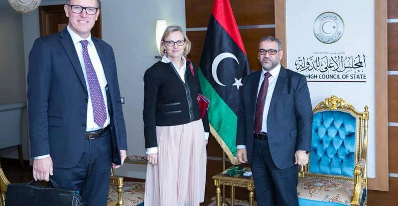"""خالد المشري مع سفير السويد في ليبيا """"فريدريك فلورن"""""""