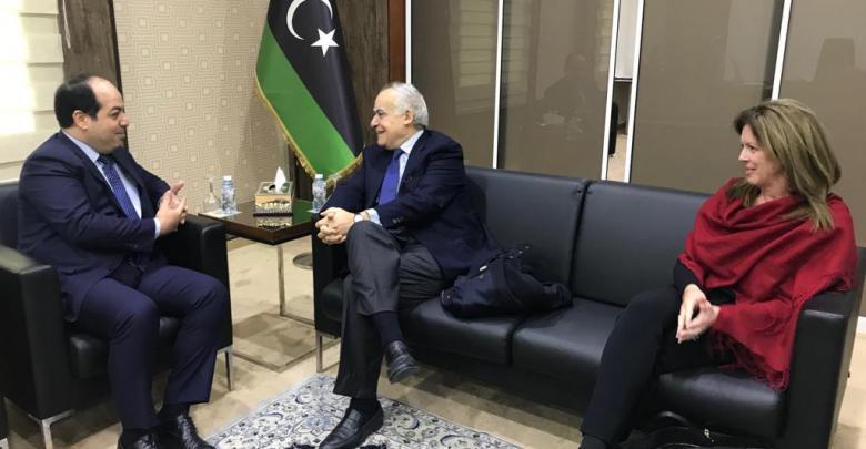 لقاء غسان سلامة وستيفاني وليامز مع أحمد معيتيق