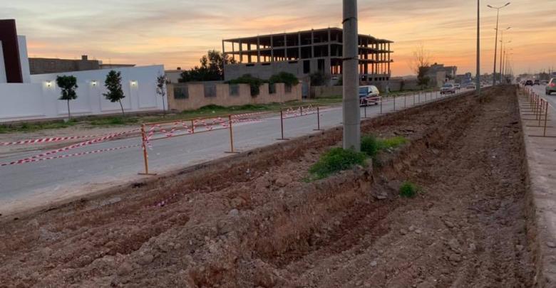 أعمالصيانة وتوسيع طريق المطار- بنغازي